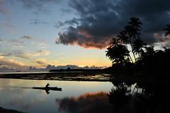 Hawaiian Canoer at Dusk (trailwalker52) Tags: hawaii oahu sunset canoe palmtree dusk canoeing canoer hawaiiansunset beautiful peaceful calm tranquil hawaiilife hawaiianlife