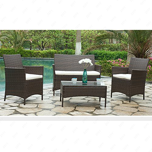 U.Rattan 4PC Outdoor Rattan Wicker Patio Furniture Set Cushioned Sofa & Table Garden Lawn Brown
