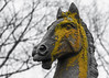 Horse Head Statue (mbinebrink) Tags: maryland baltimorecounty horse equine statue horsestatue moss winter
