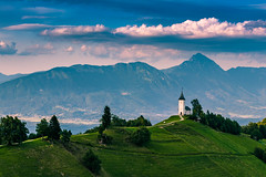 Church of St Primus and Felician (manuel.thaler) Tags: panoramic nature landscape sky mountain outdoors hill travel summer grass noperson tree cloud sight countryside rural church jamnik slovenia kranj