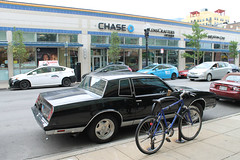 Chase (Flint Foto Factory) Tags: chicago illinois urban city summer august 2017 north edgewater bryn mawr historic district sunday morning beach apartments 7eleven francescas italian restaurant 1981 1982 1983 1984 1985 chevrolet chevy monte carlo darth vader custom grille wheels sooc straight out camera general motors gm gbody platform intermediate midsize personal luxury car front threequarter view black color street parking sidewalk chase bank