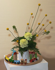Let's Play with Trains (charlottes flowers) Tags: flowershow wafuschool ikebana floraldesign whimsical