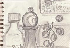 Die Welt in meinem Wohnzimmer: Und zum Nachtisch gibt es Obst (raumoberbayern) Tags: zeichnung drawing sketch sketchbook skizzenblock dina5 wohnzimmer livingroom robbbilder graphite grafit stillife stillleben naturemorte fernsehen tv