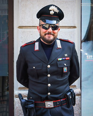 Portrait of a stranger (Мaistora) Tags: portrait street stranger man policeman carabiniere carabinieri gendarme force enforcement law order uniform weapons insignia decoration rank shades sunglasses cool fashionable designer style friendly smile city milan milano italy sony alpha ilce a6000 kit zoom lens 1650mm sel1650pz epz1650mmoss lightroom dxo film pack fuji emulsion colour look explore explored21jan18