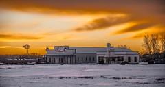 Eamon's Service Station at dawn, High River, Alberta (higgins3006) Tags: sky buildings nikond810 highriveralberta servicestation colour sunrise