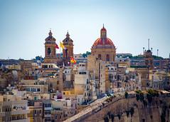 Valletta Malta (Daveyal_photostream) Tags: malta nikon nikor architecture buildings dome nature d600 meandmygear mygearandme mycamerabag flag walls sky bluesky beautiful building road cars tower church city doors windows clock maltesefalcon igmalta