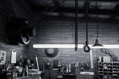 Chains (Mike_Mulcahy) Tags: black white faradaycentre hbps fuji fujifilm xt2 23mm14 chains workshop kevinmullins selfie girl randomtagsforrandompeople napier hawkesbay nz newzealand