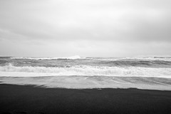 Sky Sea (black) Sand (timnutt) Tags: mono waves x100t blackandwhite beach ocean monochrome bw iceland fuji reynisfjara blacksand dyrholaey sea coast