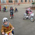 De kleuters van KGA op de fiets