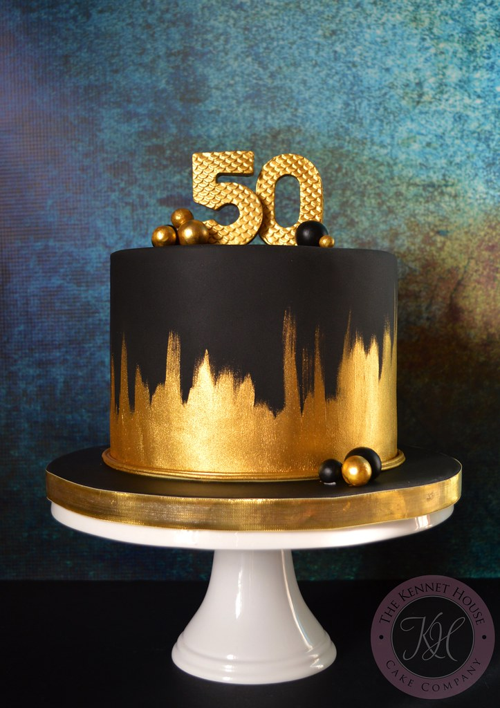 Gold And Black Birthday Cake Kennet House Cakes Tags