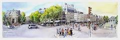 Paris Saint Michel - France (guymoll) Tags: googleearthstreetview paris france croquis sketch panoramique panoramic seine fleuve personnages saintmichel aquarelle watercolour watercolor aguarela