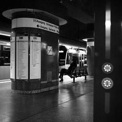 Urban Solitude - Schweizer Platz (ucn) Tags: rolleiflex35b mxevs berggerpancro400 push frankfurtammain undergroundstation ubahnhof street filmdev:recipe=11717 adoxadoluxatm49 developer:brand=adox developer:name=adoxadoluxatm49 tessar