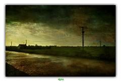 DEAR DARKNESS (régisa) Tags: house maison field champ poteau électrique electric pole pylône saintemariekerque stemariekerque aa rives river fleuve pjharvey darkness