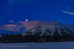 Red Moon over the Rockies (Amazing Sky Photography) Tags: totallunareclipse tle redmoon bloodmoon supermoon bluemoon rockymountains rockies crowsnestpass alberta dawn setting january31 2018 beehivecluster m44 cancer
