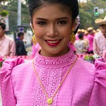 Thai People in Traditional Dress Waiting to Join the Chiang Mai Flower Festival Parade 185 thumbnail