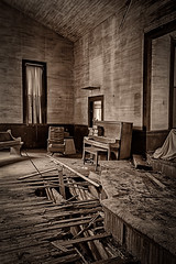 Hymnals Stacked On The Piano Waiting For The Choir (Mike Schaffner) Tags: abandoned bw blackwhite blackandwhite chapel church decay decayed derelict deserted dilapidated hymnals monochrome old pew piano ruins sepia wood texas unitedstates us