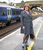 Awaiting the Tranny train (janegeetgirl2) Tags: transvestite crossdresser crossdressing tgirl tv ts edinburgh shopping day out outside public train fashion raincoat dress ankle boots