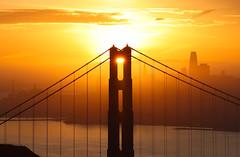 Golden Alignment (Omnitrigger) Tags: bridge goldengatebridge goldengate sanfrancisco bayarea sf landscpe sunburst sunrise omnitrigger marinheadland zoomlens hawkhill goodmorning