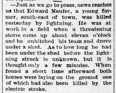 1890 - Edward Nufer killed by lightning - Enquirer - 18 Jul 1890