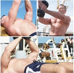 single dumbbell press (ddman_70) Tags: shirtless pecs chest workout muscle outdoor gym