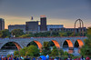 2017 Minneapolis Independence Day fireworks (schwerdf) Tags: bridges goldenhour hdr millingdistrict minneapolis minnesota stonearchbridge