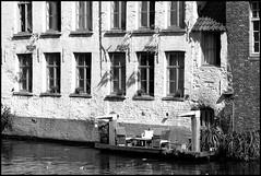 livingonthe water (Jan Herremans) Tags: bw belgium leie river gent