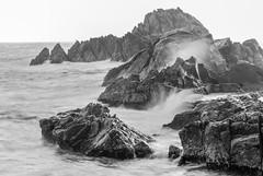 rock (withcamera) Tags: waves eastsea janghobeach sea rockstone blackandwhitephotography longexposure gangwondo southkorea
