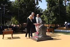 PM  Netanyahu and his wife Sara visit Mahatma Gandhi's house, accompanied by India's PM Modi (IsraelMFA) Tags: india israel netanyahu gandhi house visit modi