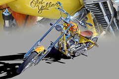 Old Yeller - Customized Chopper (In Explore) (Brad Harding Photography) Tags: motorcycle motorbike cycle bike chopper customized gardner kansas carshow gardneredgertonhighschool oldyeller yellow
