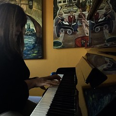Cyndi at the piano (The Big Jiggety) Tags: piano woman intimate painting art arte kunst michael kent