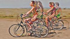 Bildschichten Rad Nudisten 32n (wos---art) Tags: bildschichten rad räder bycicle radfahrer unfall schrott radwandern gruppe