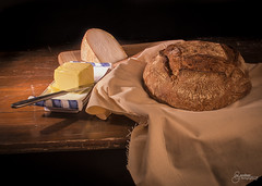 Bread & Cheese (M Gardner Photography) Tags: brown bread cheese butter food darkfood