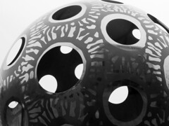 Circles and spheres, delight our eyes. (vickilw) Tags: circle sphere metal sculpture bw 6ws 7daysofshooting week30 rounded blackandwhitewednesday