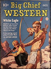 Big Chief Western Vol. 1, No. 1 (October 1940). Uncredited Cover Art (lhboudreau) Tags: pulp magazine magazines pulpmagazine pulpmagazines magazinecoverart pulpmagazinecover pulpmagazinecovers magazinecover magazinecovers pulpart west western wildwest coverart illustration drawing nativeamerican americanindian westernstory americanwest westerns frontierwest bigchiefwestern bigchief whiteeagle comanche brave comanchebrave arthurlawson firstissue volume1number1 october1940 1940 bowandarrow bowarrow bow arrow loincloth lady rifle rock rocks cliff headband feather pulpfiction text redstarmagazine
