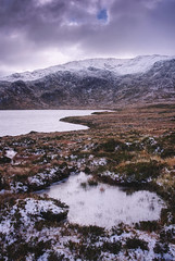 Loch na Gainmhich (ShinyPhotoScotland) Tags: art manipulated composite hdr places contrasts light emotion pure composition contentment nature weather photography equipment lens mountains filter scotland highlands landscape shapeandform skyearth balance rawconversion elegance vista toned digikam flora enfuse awe affection nearfar dulllight simple shapely space naturehappens heather callunavulgaris statesofwater pattern texture circularpolariser sky clouds seasonal autumn areas snow cold camera pentaxk1 harmony dcraw pentax28105mm serifaffinityphotoipad frozen ice frost colour vibrant assynt glasbheinn lochnagainmhich unitedkingdom gbr