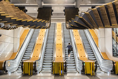 out with the old, in with the new (Greg Rohan) Tags: sydney wynyardstation wynyard trainstation yellow d750 2017 nikkor nikon lines building escalators escalator station people lady woman