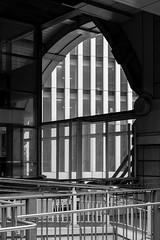 241/365 - Lines (Spannarama) Tags: blackandwhite london uk lines parallellines windows architecture railings highwalk barbicanhighwalk