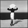 Graphical forms (Radoslaw Pujan) Tags: graphic form blackandwhite perfect moment timing lines negative contrast hasselblad 1102 ilford hp5 filmphotography analogue argentique square portugal sea coast woman hat