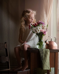 Fresh Flowers (Sonya Adcock Photography) Tags: girl child kid photography childphotography light evening glow warm family painterly portrait ray poetry poetic story nikon nikond700 nikkor nikkor105mmdc childhood fineart fineartphotography art sonyaadcockphotography indoors inside
