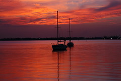 BOATS  IN THE MORNING (R. D. SMITH) Tags: morning dawn river water sunrise boat orange canoneos7d