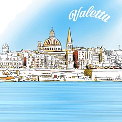Colored Sketch of Valetta, Malta (Hebstreits) Tags: architecture background building capital church city cityscape destinations drawn europe famous hand illustration islands isolated landmark landscape malta maltese medieval mediterranean monument old painting panorama panoramic sea sketch skyline tourism travel urban valetta valletta vector water waterfront white