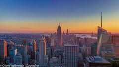 Sunset at the Rockefeller Center (Oliver Weihrauch) Tags: newyork newyorkcity manhatten sunset skyscraper skyline empirestatebuilding usa united states