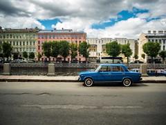Lada on Fontanka. (brandnewfilms) Tags: classical downtown river red car zhiguli lada stpetersburg russia europe vintage