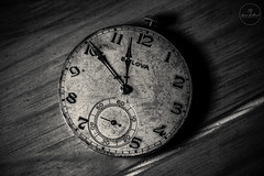 IMG_4811logo (Annie Chartrand) Tags: watch pocketwatch time clock macro movement numbers dial face hands stilllife antique old classic wood bulova jewelry monochrome bw black white patina rustic circle pattern