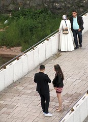 Someone likes short (vittorio vida) Tags: street dress skirt bosnia sarajevo bridge short muslim veil islam people