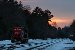 Land of the GP9 for 64 years and counting (view2share) Tags: cn7027 cn canadiannational cold wisconsin wi winter woods northernwisconsin northwood northwoods bradleysub bradley yard junction jct snow snowfall valleyline valleysub february2018 february 2018 february182018 railway railroading railroads rail rails rr railroaders rring roadtrip railroad track transportation tracks transport trains train trackage trees travel freight freighttrain freightcar freightcars terminal local locomotive engine gp9 gp9u gp9rm emd electromotivedivision evening dusk twighlight deansauvola
