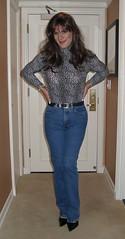 Leopard Top & Jeans (xgirltv1000) Tags: tgirl transgender trans transwoman transisbeautiful crossdress transformation makeover girlslikeus maletofemale mtf dragqueen michellemonroe