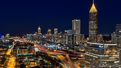 Atlanta, GA: Midtown skyline viewed from the south (nabobswims) Tags: atlanta ga georgia hdr highdynamicrange ilce6000 lighttrails lightroom midtownatlanta nabob nabobswims night nightfoto photomatix sel18105g skyline skyscraper sonya6000 us unitedstates