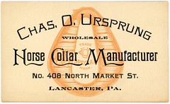 Chas. O. Ursprung, Horse Collar Manufacturer, Lancaster, Pa. (Alan Mays) Tags: ephemera businesscards tradecards advertising advertisements ads cards names paper printed ursprung chasoursprung chasursprung charlesoursprung charlesursprung wholesale wholesalers horsecollars horses collars manufacturers makers monograms initials illustrations brown marketstreet lancaster pa lancastercounty pennsylvania 1910s antique old vintage typefaces type typography fonts landis dblandis davidbachmanlandis pluck pluckprint pluckartprint pluckprintery pluckartprintery printers printeries printshops jobprinters