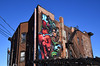 The Red Horse Mural (dr_marvel) Tags: clear bluesky blue sky windows wires stairs fireescape artwork art newyork ny rochester wall brick color mural redhorse horse red
